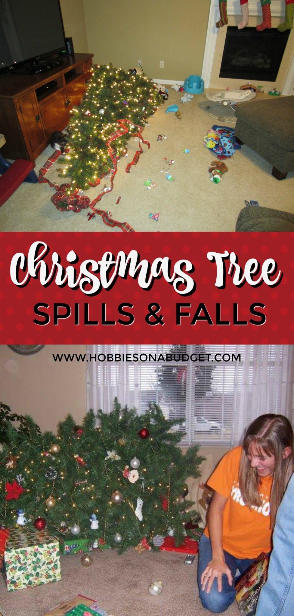 CHRISTMAS TREE SPILLS AND FALLS