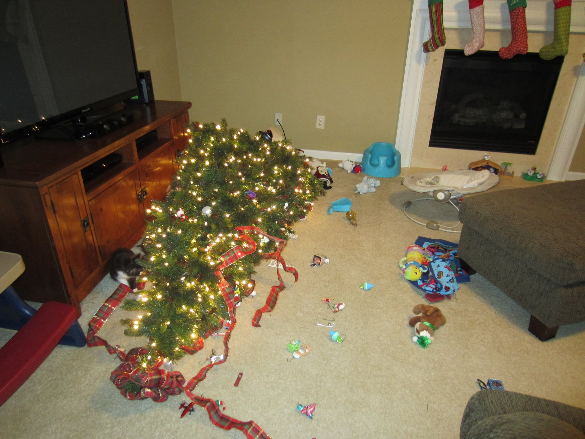 Two year old knocks down Christmas tree