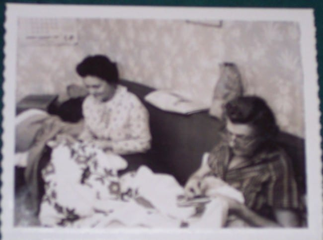 My Grandma Hazel and Her Mom working on a quilt