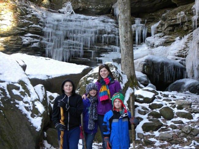 sharon and kids at Anglin falls