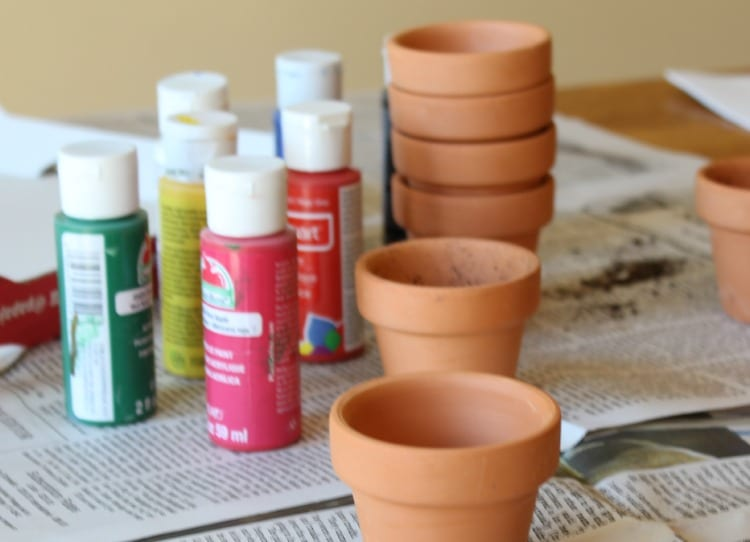 Thumbprint flower pots hobbies on a budget for Pot painting materials required