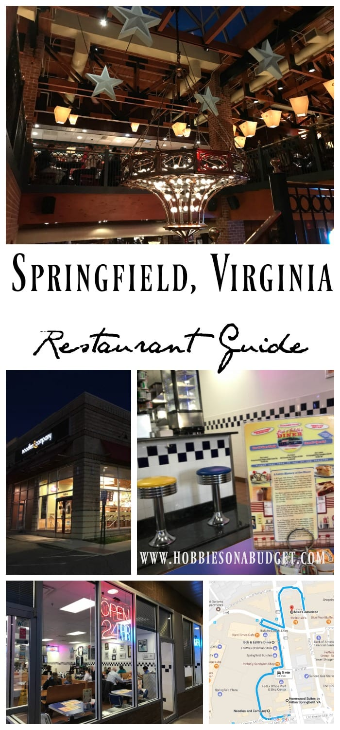 Staying outside Washington DC in Springfield, Virginia looking for a restaurant guide? Here are three great restaurant options for your next visit to Springfield:  Bob & Edith's Diner, Mike's American Grill and Noodles & Company.