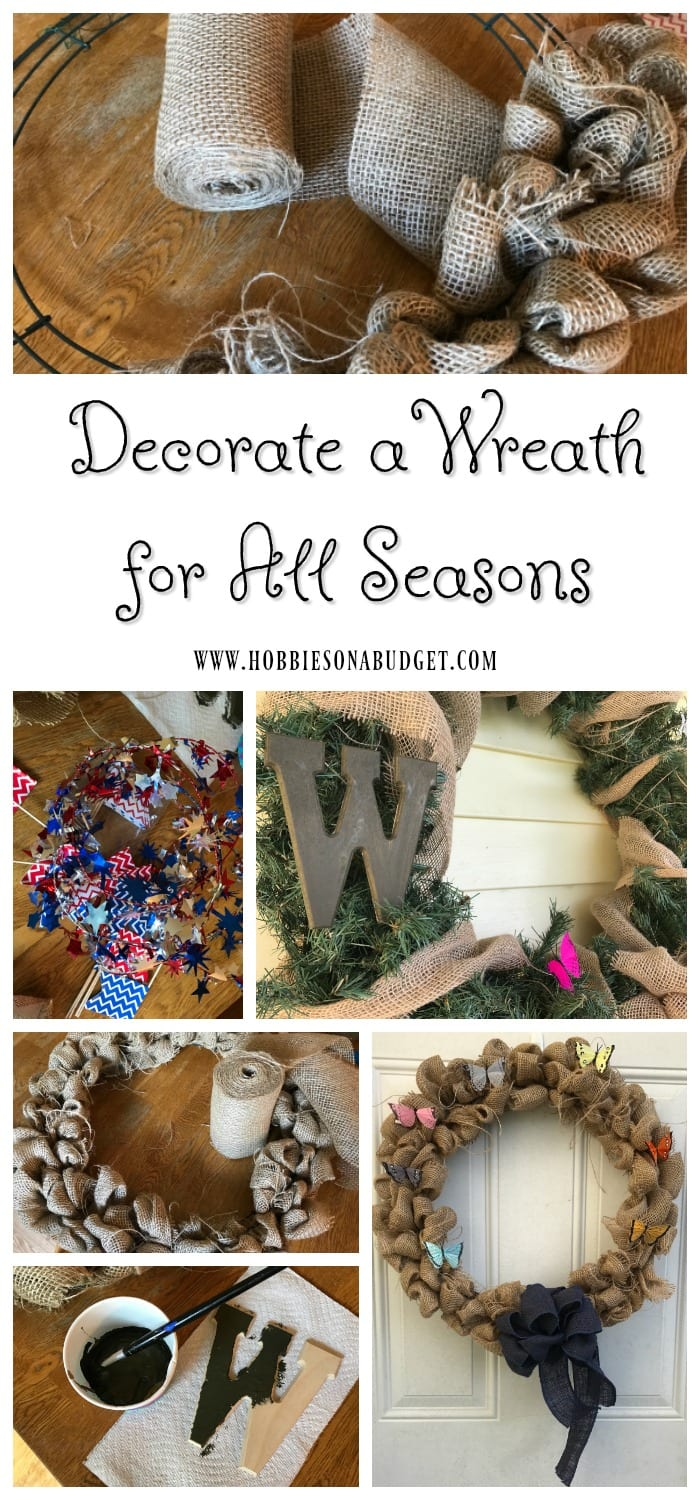 With a little creativity, it's easy to decorate a wreath for all seasons.  One wreath, many different decoration ideas!  Now, you can use the same burlap wreath all year round - Christmas, Easter, Spring, Valentine's Day, 4th of July, Harvest, Thanksgiving!