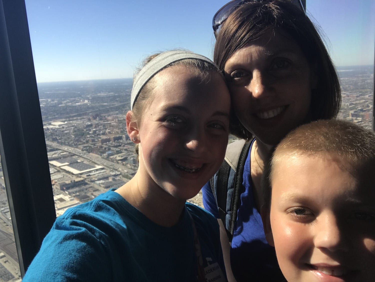 Sharon and kids at Willis Tower Chicago Illinois