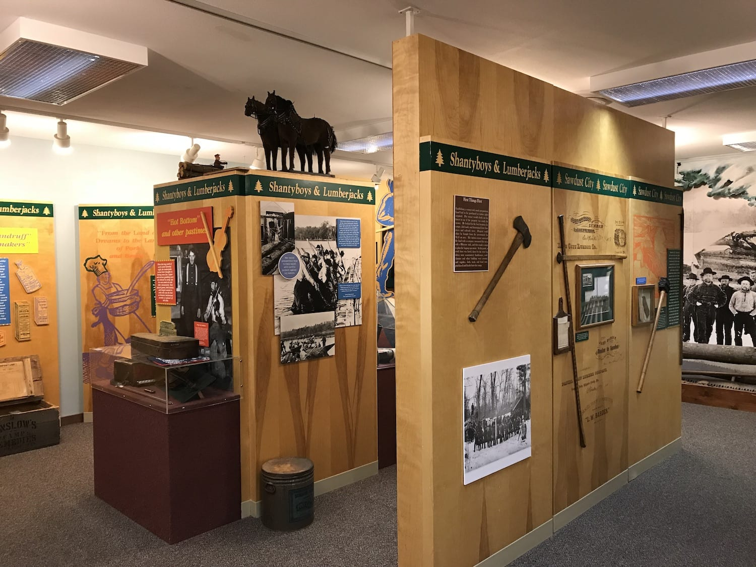 Exhibits at Paul Bunyan Logging Camp Museum
