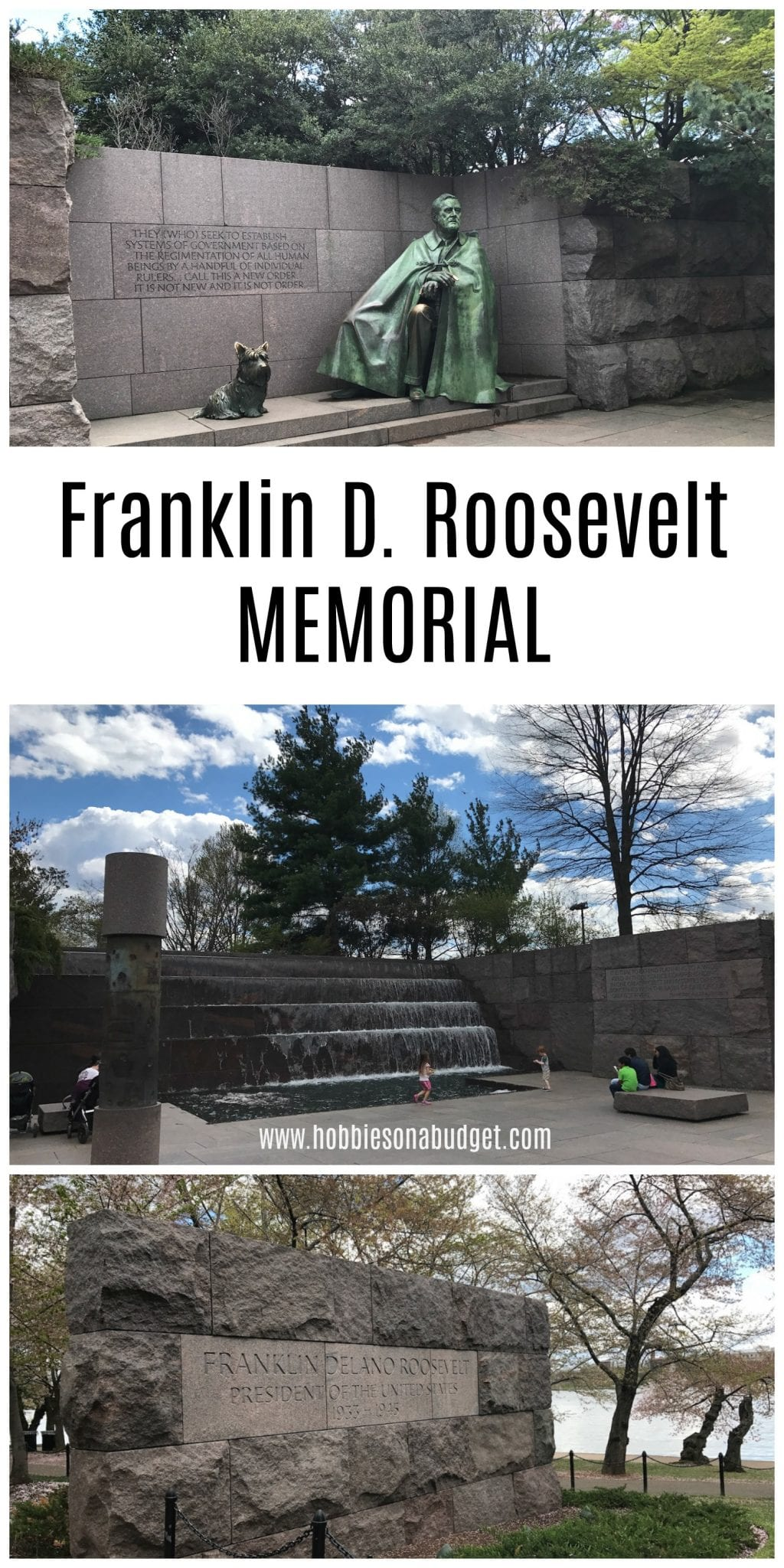 Heading to WashingtonDC?  Here are a few tips on what to expect on a visit to the Franklin D Roosevelt Memorial in Washington DC.   Located on the shores of the Tidal Basin across from the Jefferson Memorial, the FDR Memorial is a beautiful look at the presidency of our 32nd President.