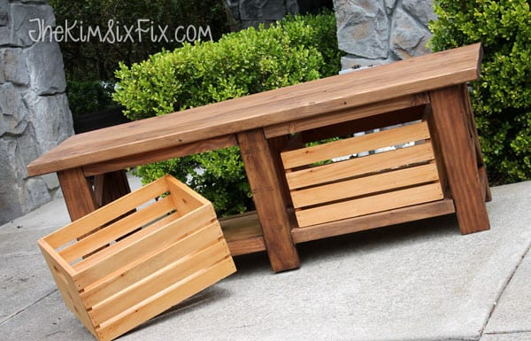 crate bench with storage