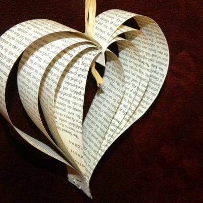 Paper Hearts out of Old Books