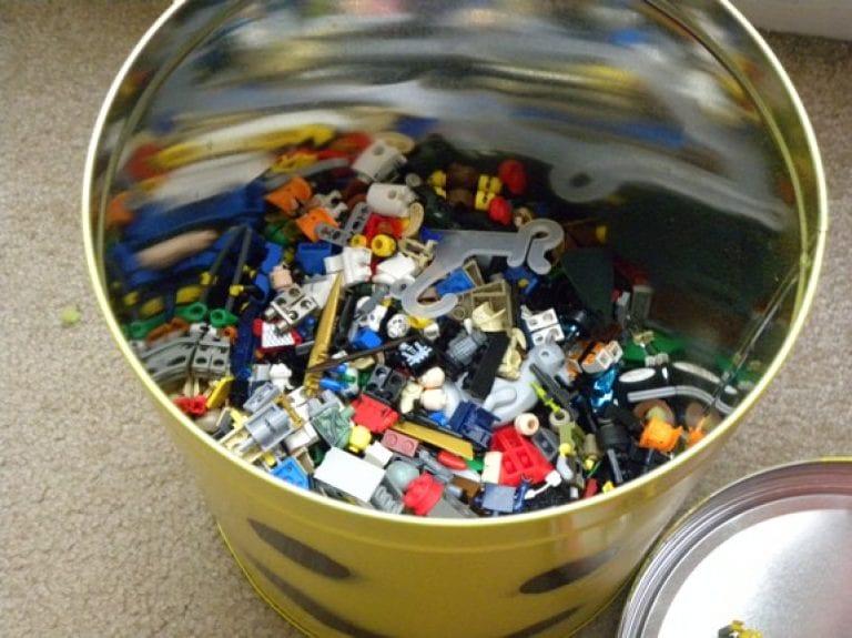 Popcorn Tin Lego Storage Bucket