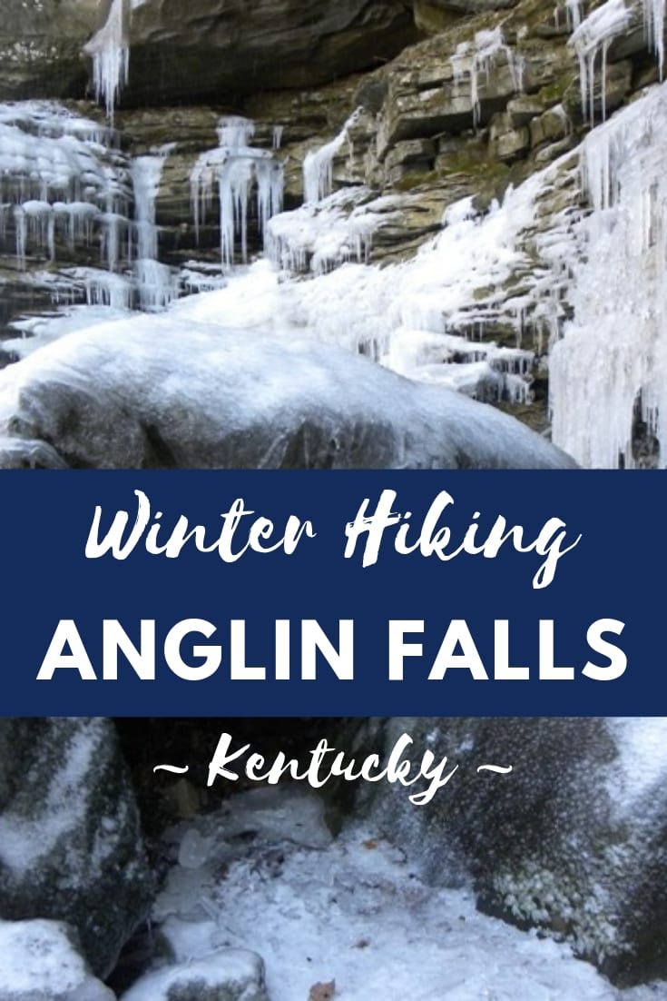 Winter hiking Anglin Falls Kentucky