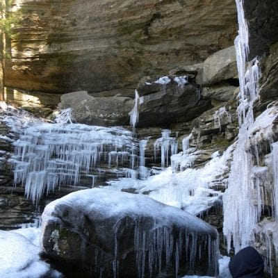 Winter Hiking at Anglin Falls