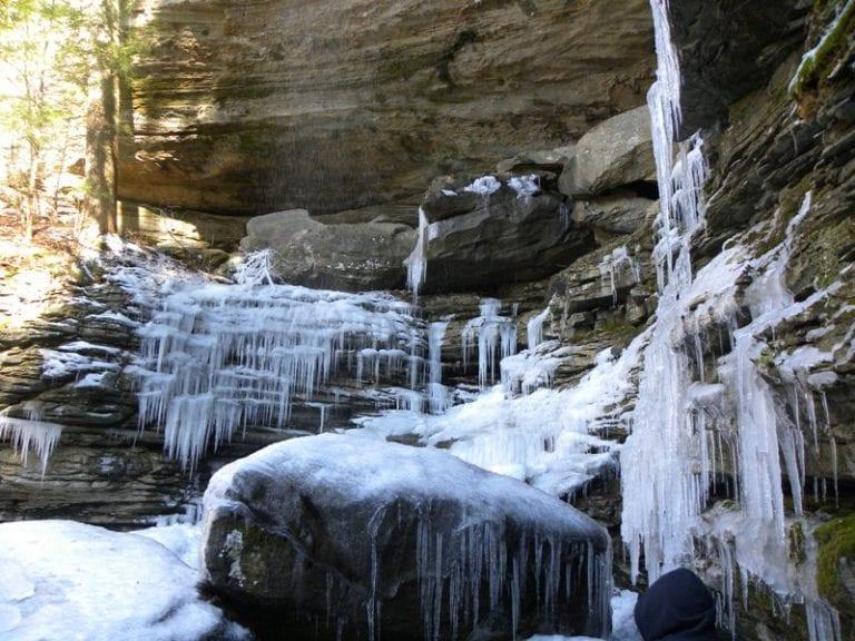 Winter Hiking at Anglin Falls