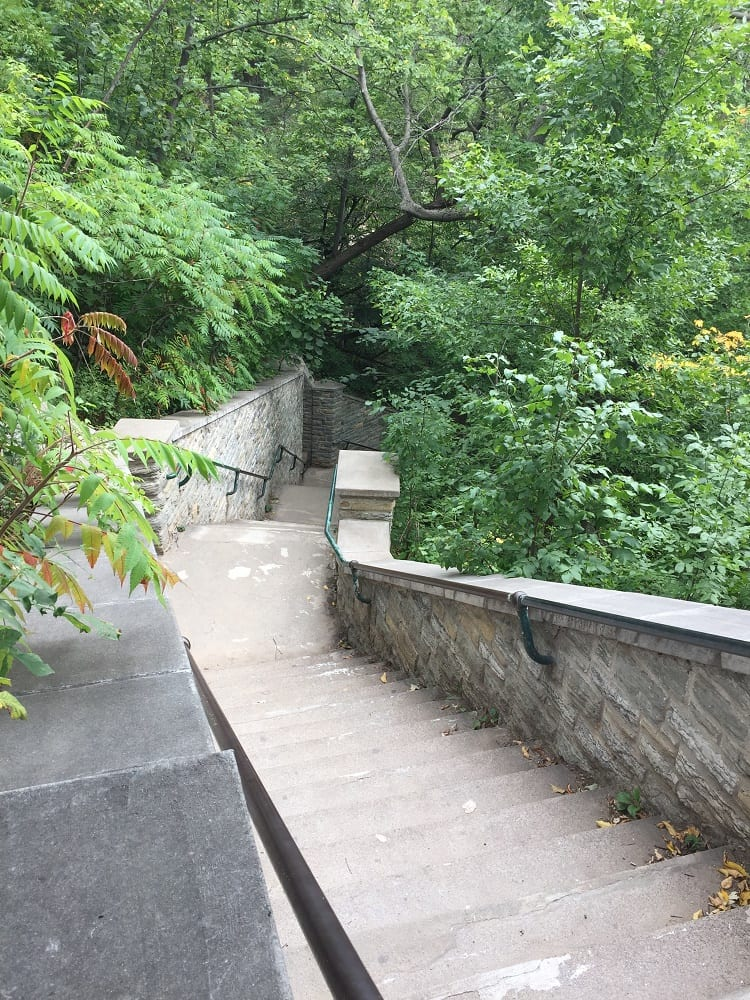 Take the steps down to Minnehaha Falls in Minneapolis Minnesota