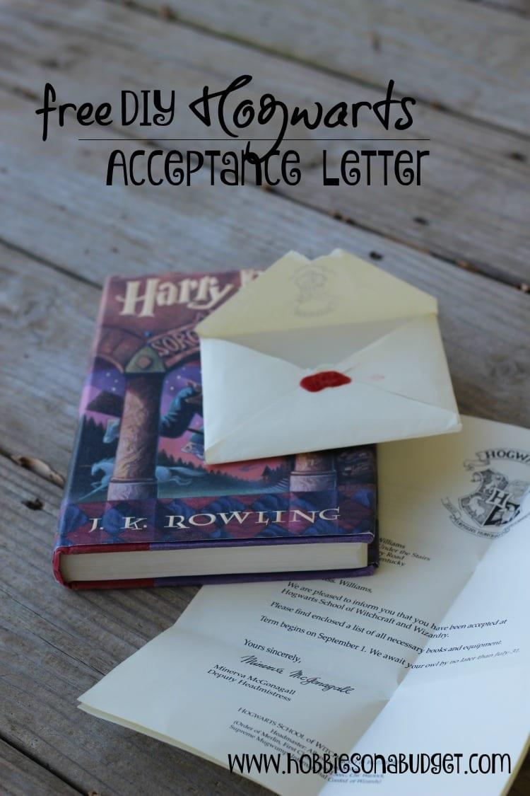 Diy Hogwarts Acceptance Letter Hobbies On A Budget