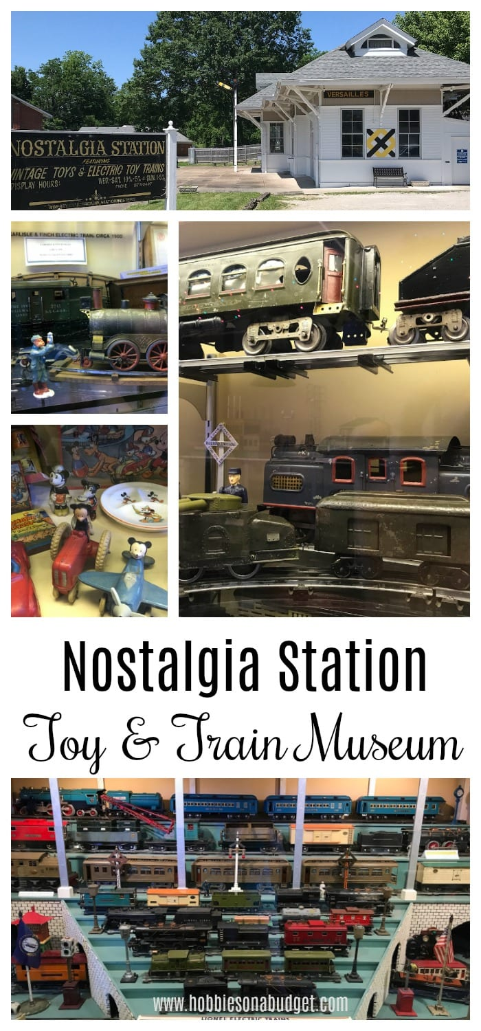 Do you love antique toy trains? Nostalgia Station is a museum in Versailles, Kentucky that has hundreds of vintage toy trains ready for you!  Whether you are fascinated by old trains, vintage cartoon characters or models, this is the place for memories and sharing the toys with the next generation!  #toytrains #trains #toymuseum