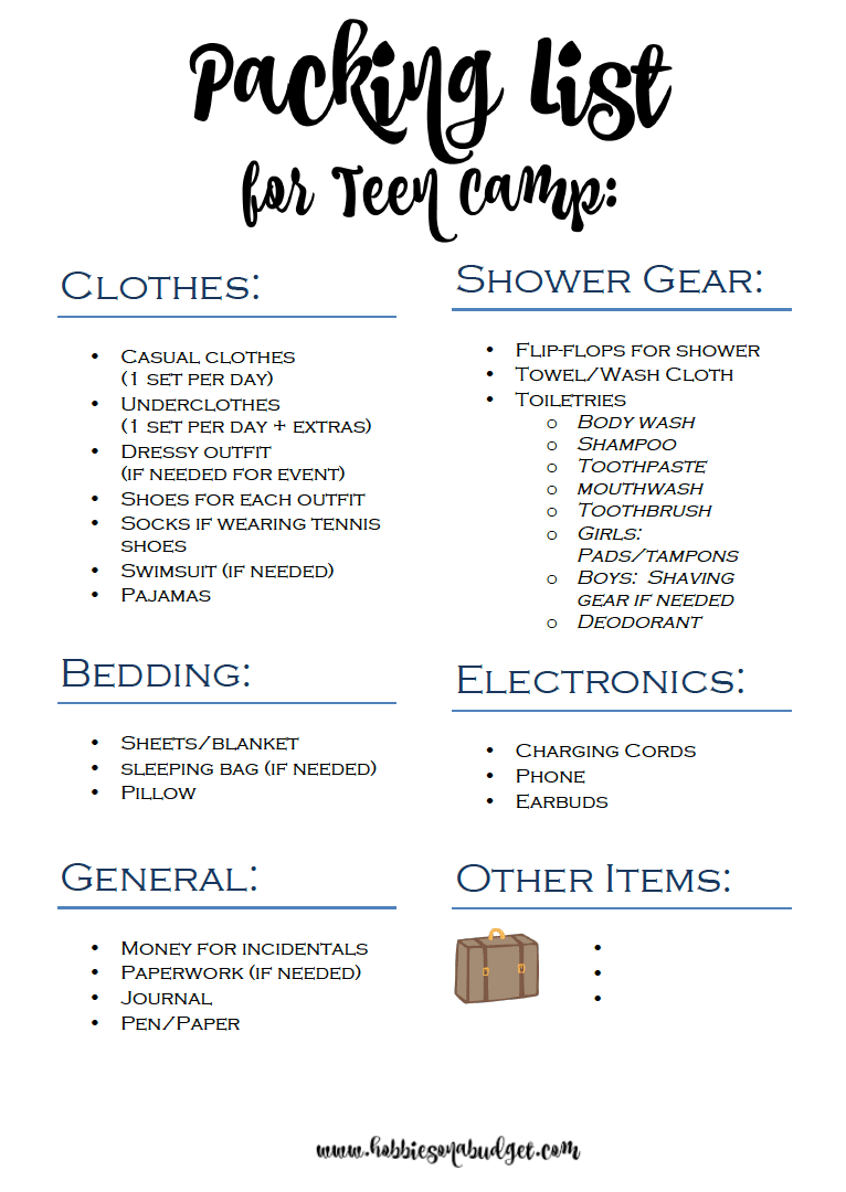 Packing List for Teen Summer Camp - Hobbies on a Budget