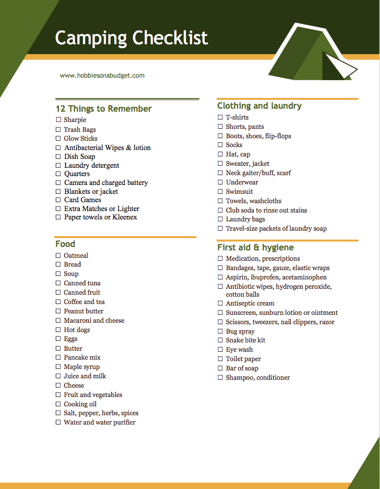 image regarding Printable Camping Checklist named 12 Elements Toward Just take Tenting - Hobbies upon a Funds