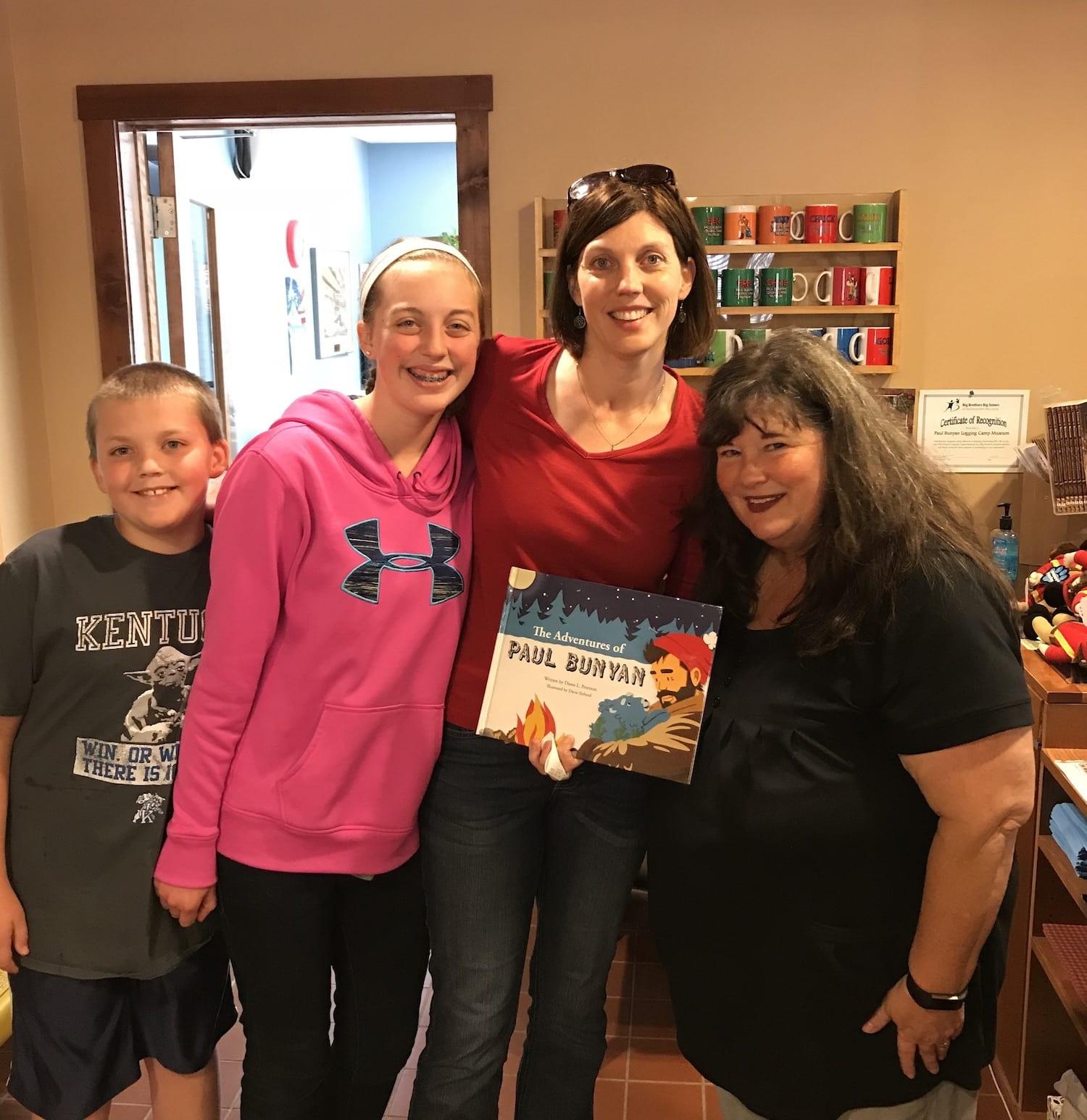 Picture with Author Diana Peterson at Paul Bunyan Logging Camp Museum
