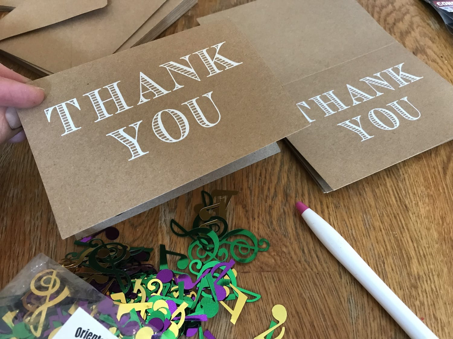 Use confetti to make Thank you notes fun