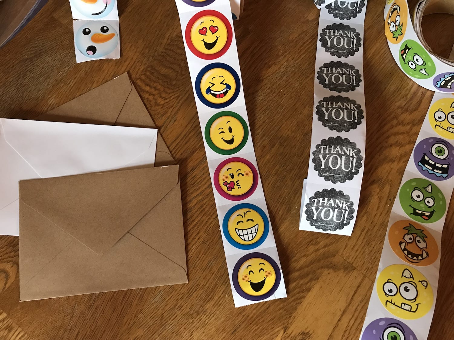 Use stickers to customize thank you notes.