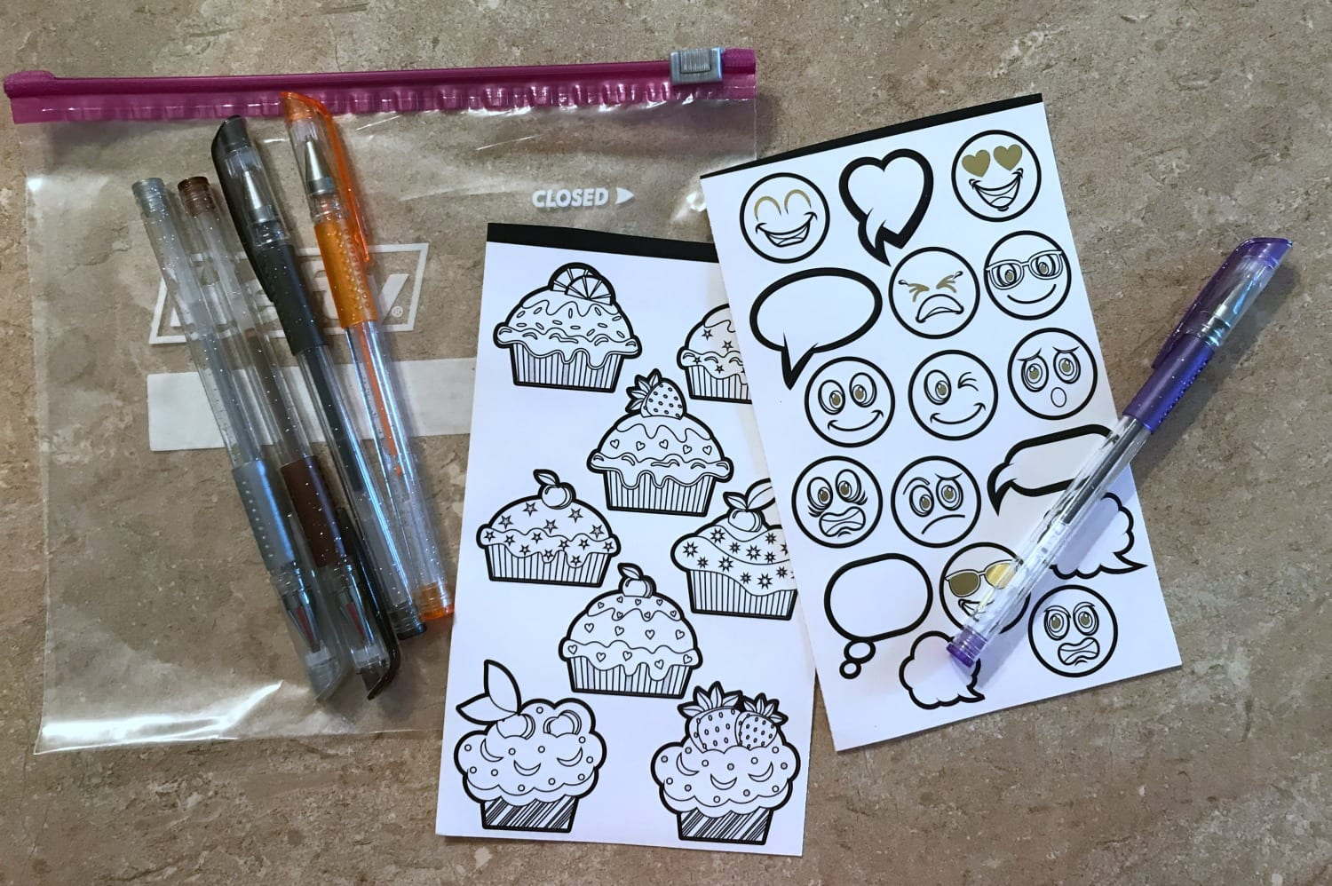 coloring stickers and gel pens