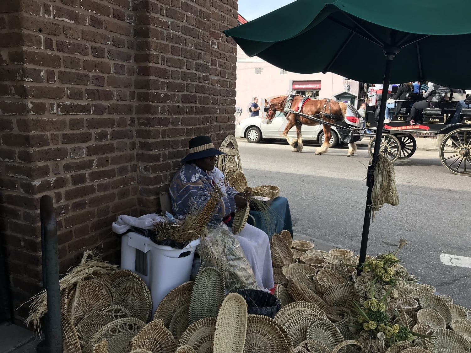 Sweetgrass baskets on sale at the Charleseton City Market