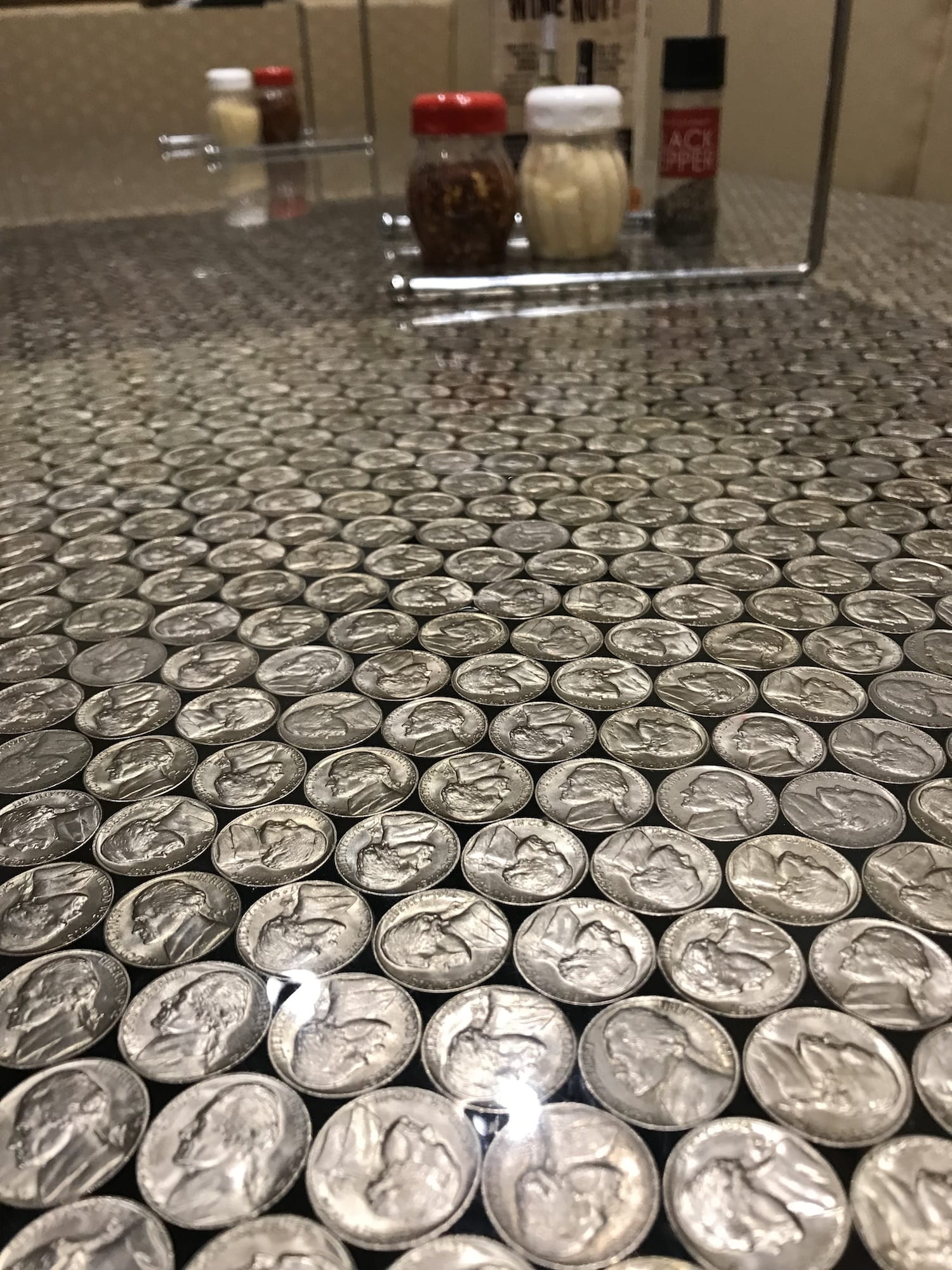 nickel table at Mellow Mushroom