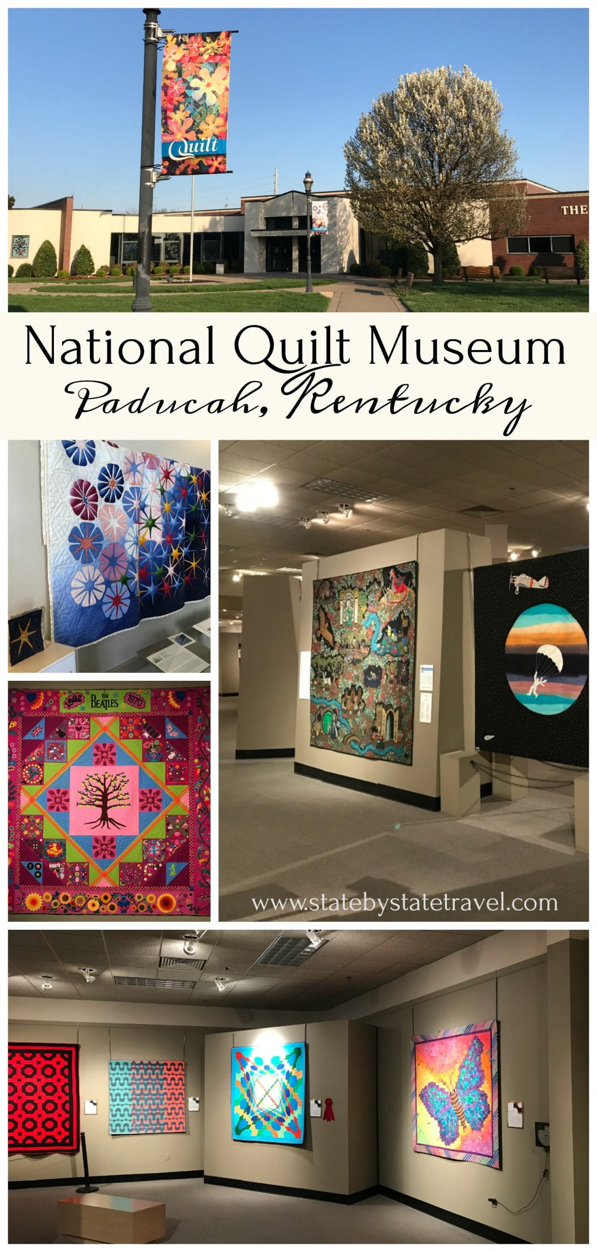 What is it about quilts that just makes people feel warm and comfortable and connects generations? Recently we had the opportunity to visit the National Quilt Museum in Paducah, Kentucky. Whether you love quilts already or just appreciate the work of skilled artists, the Quilt Museum needs to be on your list! #quilts #quilting #quiltmuseum #Kentucky #KYtravel #paducahcreativecity #creativepaducah #artmuseum #museum