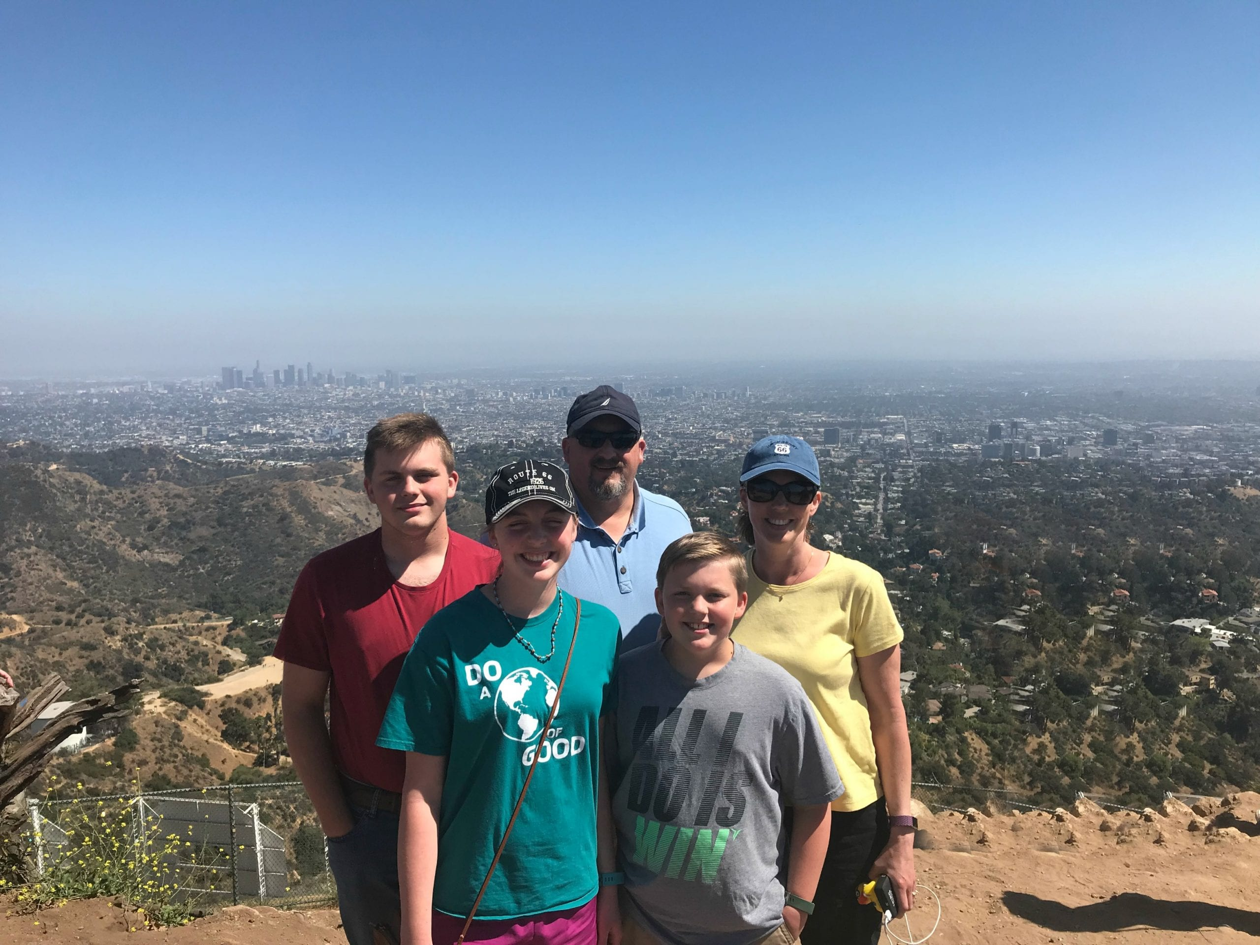family at Hollywood Sign