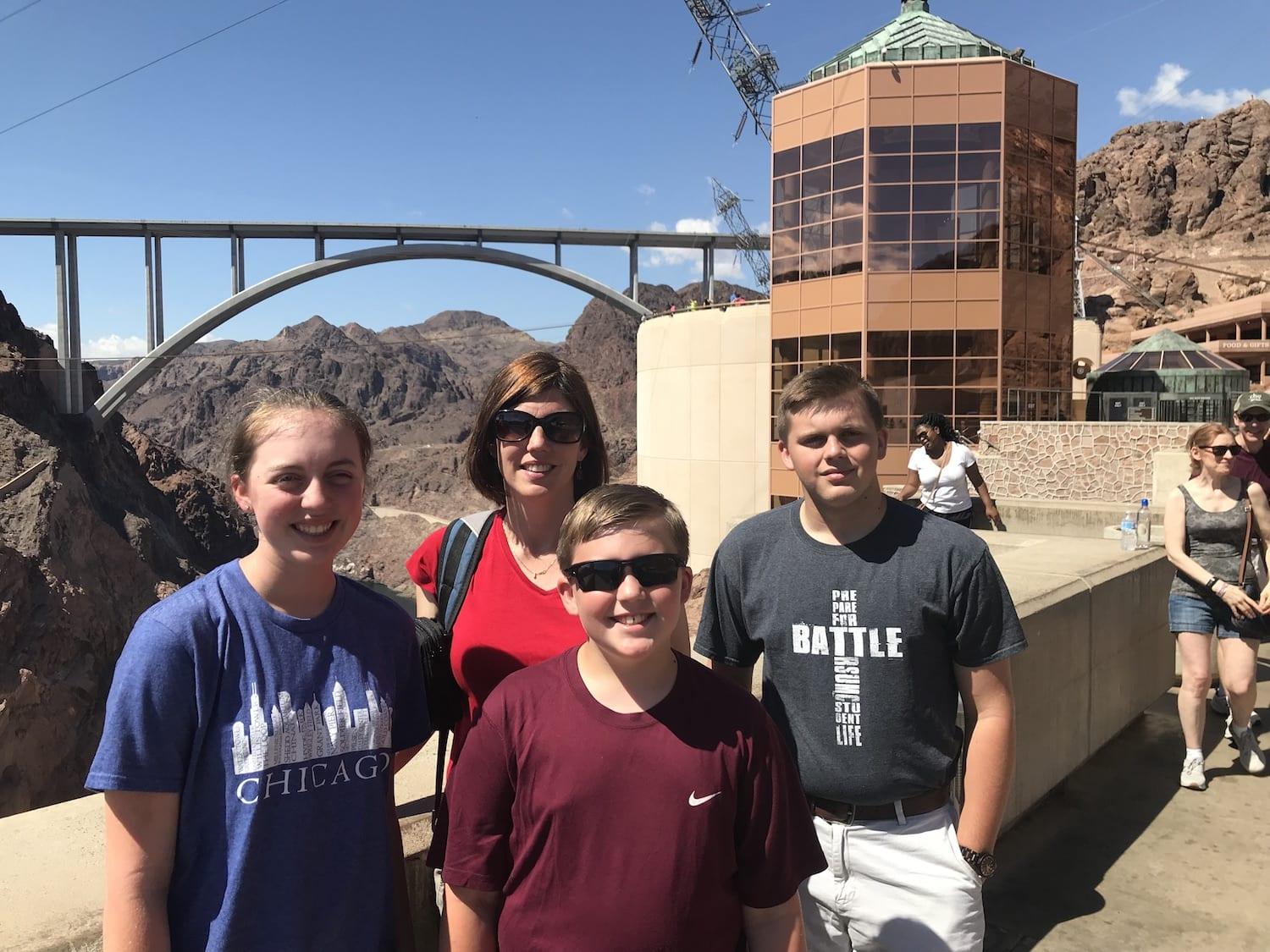 Sharon and Kids at Hoover Dam