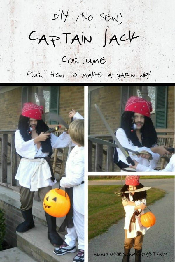 Ready to create a simple No Sew DIY Captain Jack Pirate Costume?  Here are some easy tips to create a convincing pirate costume PLUS how to make a yarn wig for your young pirate!