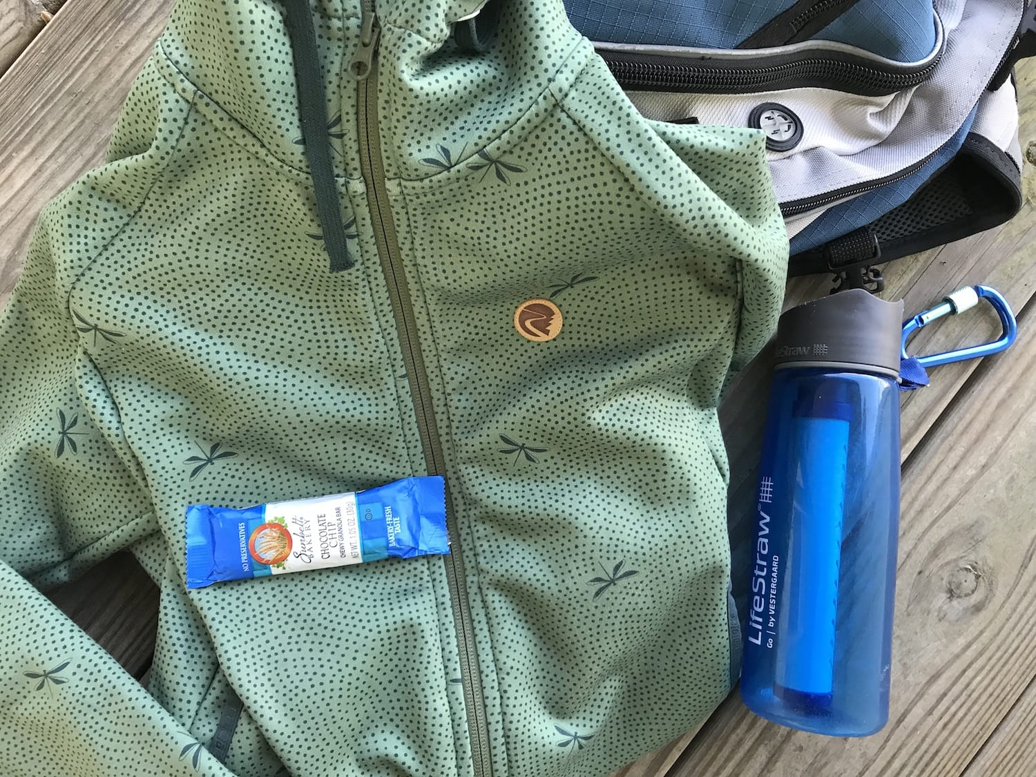 Hiking gear with Lifestraw
