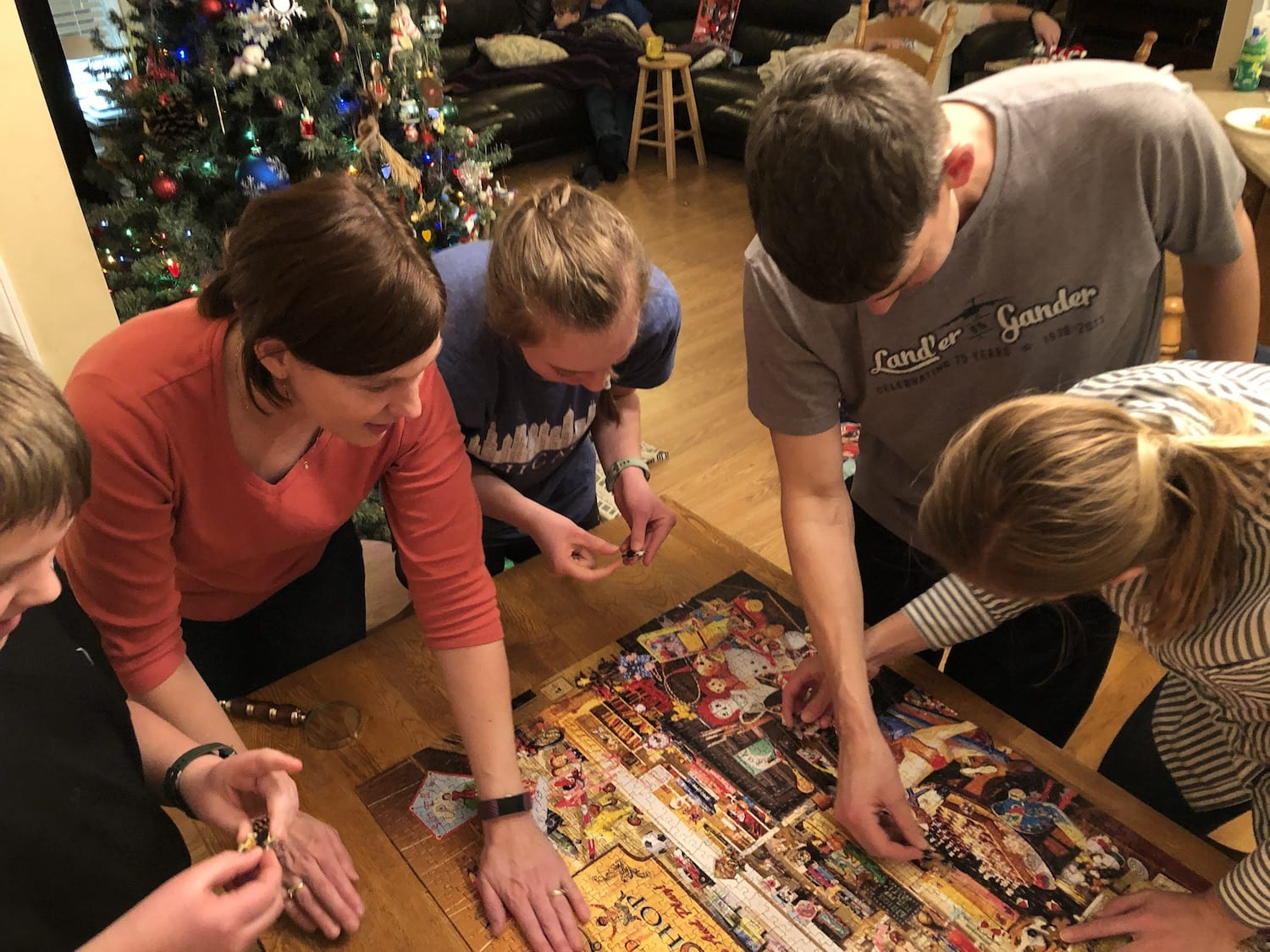puzzle time with family