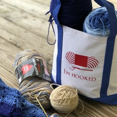 """I'm Hooked"" Canvas Tote with Cricut Vinyl"