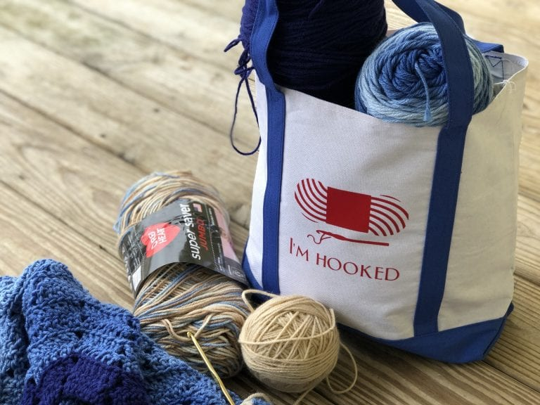 """""""I'm Hooked"""" Canvas Tote with Cricut Vinyl"""