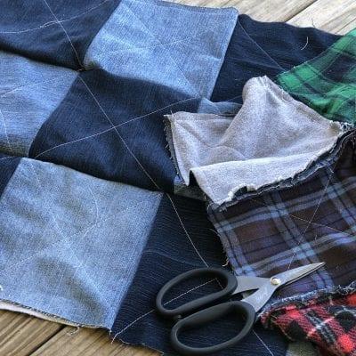 Blue Jean Flannel Rag Quilt Week 3