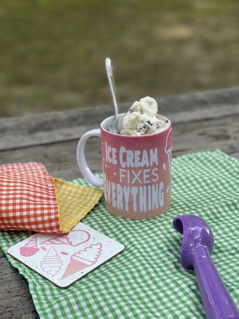 """""""Ice Cream Fixes Everything"""" Infusible Ink Mug & Coaster"""